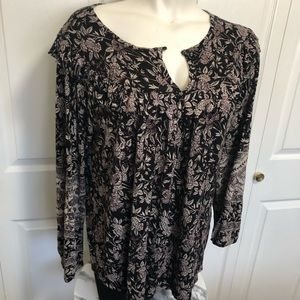 Lucky brand ruffle floral peasant top sz.2X